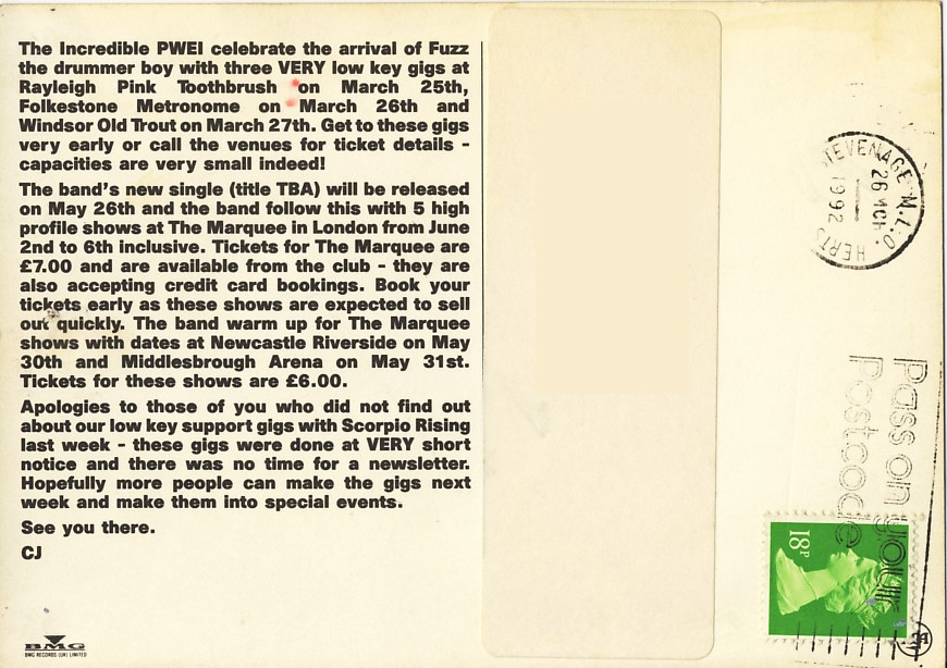 Postcard announcing Fuzz